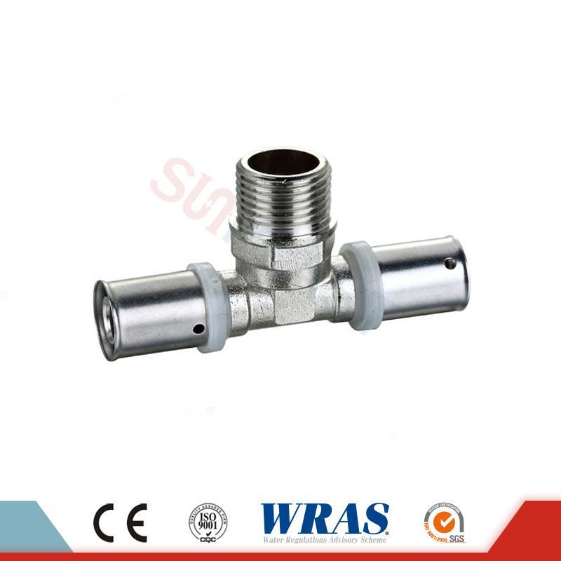 Messingpresse-T-Stück für PEX-AL-PEX-Mehrschichtrohr