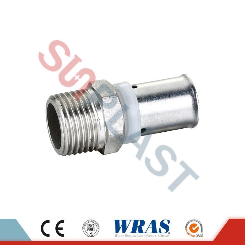 Brass Press Male Coupling For PEX-AL-PEX Multilayer Pipe